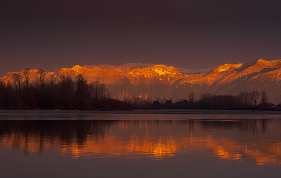 Last light over the local mountains. Taken from Island 22 in Chilliwack
